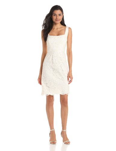 Jill Jill Stuart Women's Seamed Lace Bodice Dress, Cream, 2