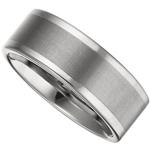 Dura Tungsten Flat Comfort Fit Band with Satin Finish Center Size 11.5