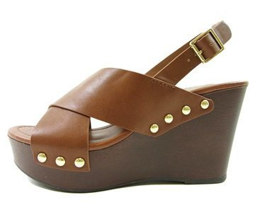 City Classified MVE Shoes Women's Support Peep Toe Sling Back T-Strap Studded Platform Faux Wood Wedge , mve shoes support tan red pu size 6 (Wood Platform Shoes compare prices)