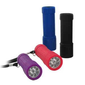 Super Bright 9 LED Rubber Grip Anti Shock Flashlight - Weather and Slip Resistant (Random Colors)
