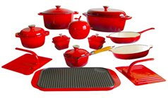 Le Chef 19 Piece Enameled Cast Iron Red Cookware Set. front-440272