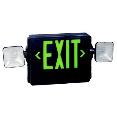Royal Pacific RXEL30GW-E Exit Sign / Emergency Light Combo, White with Green Letters