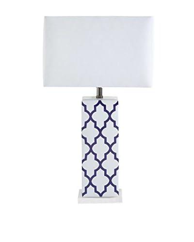 Mercana Cruble 1-Light Table Lamp, Purple/White