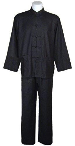 Tai Chi abbigliamento nero cotone e lino per l'uomo, uniforme Qi Gong e Kung Fu, Abiti da arti marziali taglia L