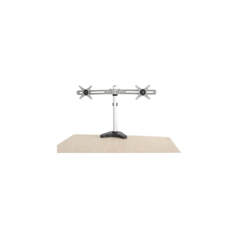 WCI Quality Aluminum Dual Desk Mount For 2 Computer Monitors, LCD LED TVs Or Flat Panel Screens   Articulating, Swivel, Tilt, And Height Adjustable Arm Bracket   Fits 10 Inch To 24 Inch Displays