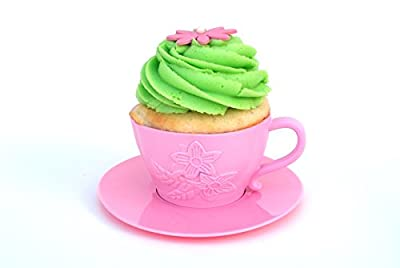 6 Pink Reusable Silicone Decorative Cupcake Liners for Baking Cupcakes, Muffins, Dessert Cups For Frozen Treats, Mousse, Candy, and Pudding. For a Princess Tea Party, Girls Birthday Parties.