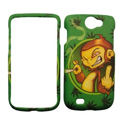 Samsung Exhibit II 2 4G 4-G T679 T-679 Green Marijuana with Bad Monkey Smoking Cigar Design Snap-On Hard Protective Cover Cell Phone Case
