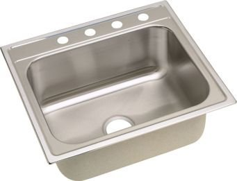 Elkay DPC12522100 20 Gauge Stainless Steel Single Bowl Top Mount Kitchen Sink, 25 x 22 x 10.25