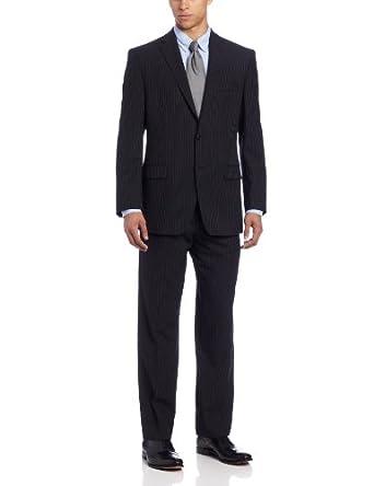 Calvin Klein Men's Malik Suit Pin Stripe, Black, 42 Short