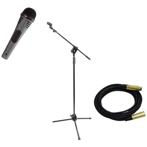 Pyle Mic And Stand Package - Pdmik2 Professional Moving Coil Dynamic Handheld Microphone - Pmks3 Tripod Microphone Stand W/ Extending Boom - Ppmcl15 15Ft. Symmetric Microphone Cable Xlr Female To Xlr Male