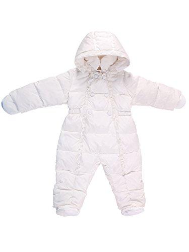 Oceankids Bianca Tuta da neve invernale monopezzo con imbottitura in piuma d'oca e cappuccio rimuovibile, da bambina 3-6 Mesi