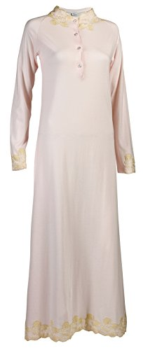 La Canarie Women's Nightgown, Lace Trimmed, Ankle Length, Aura Rose, x-Small (Extra Long Nightshirts compare prices)