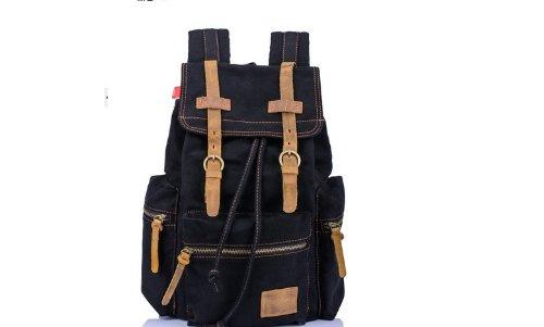 KINGLAKE Latest Generic Vintage Men Casual Canvas Leather Backpack Rucksack Bookbag Satchel Hiking Bag (Black)
