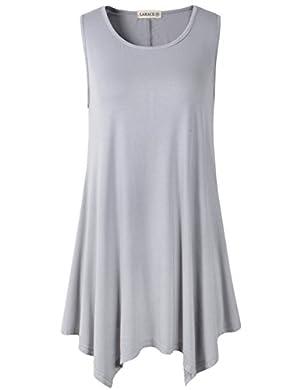 Lanmo Women Plus Size Solid Basic Flowy Tank Tops Summer Sleeveless Tunic(2X, Gray)