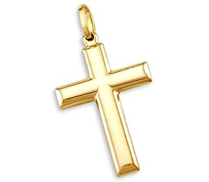 14k Yellow Gold Cross Crucifix Pendant Charm Plain