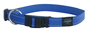 Rogz Utility Large 3/4-Inch Reflective Fanbelt Dog Collar, Blue