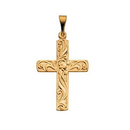Christian Cross Pendant in 14k Yellow Gold - 20mm New