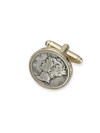 Paul Fredrick Men's Mercury Dime Cufflinks Silver 000