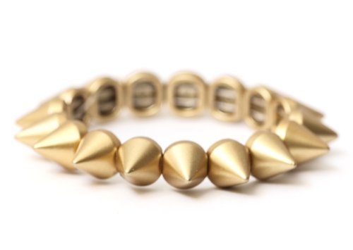 Spike Studs Stretch Bracelet Antique Gold Tone