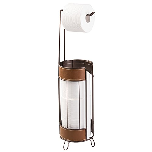 mDesign Free Standing Toilet Paper Roll Holder for Bathroom Storage - Bronze