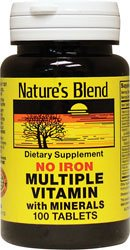 Multiple Vitamin with Minerals No Iron 100 Tabs