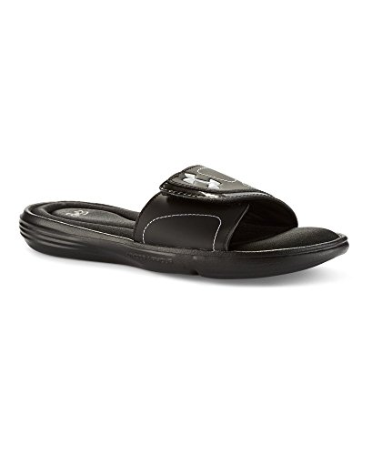 Under Armour Women's Under Armour Women's Ignite VII Slides Sandal, black/Metallic Silver, 8 Medium US