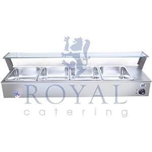 Royal Catering - RCBM-4 - Bain-Marie - 4 récipients - 1800 W - max. 80 °C - robinet de vidange