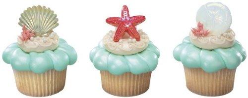 Beach Seashell Sand Dollar and Starfish Cupcake Rings - 24 ct - 1