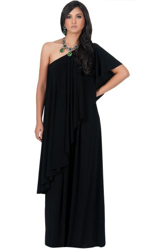 Koh Koh Women's Flattering One Shoulder Long Ruffle Maxi Dress – XXLarge – Black