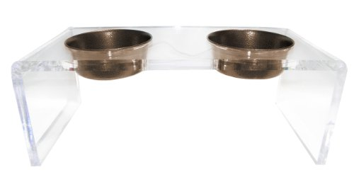 Platinum Pets 5 Star Modern Solid Acrylic Dog Feeder With 2 Extra Heavy 1-Pint Copper Vein Bowls front-192758
