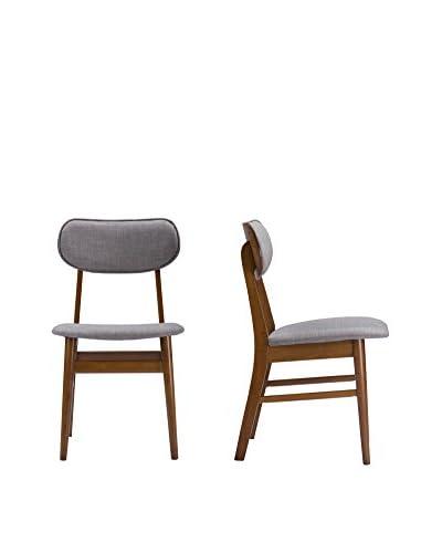 Baxton Studio Sacramento Set of 2 Dining Chairs, Brown Walnut/Grey
