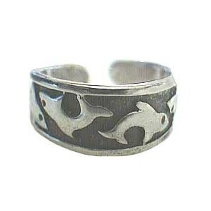 Hawaiian Jewelry Sterling Silver Shark Fish Toe Ring