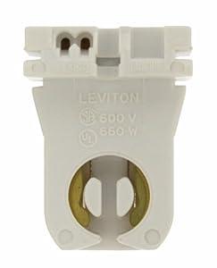 Leviton 23351 Medium Bi-Pin, Standard Fluorescent Lampholder, White