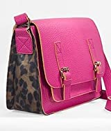 Jazzed Faux Leather Satchel Shoulder Strap Handbag - Hot Pink