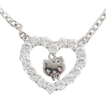 Hello Kitty Clear Crystal Heart Necklace.