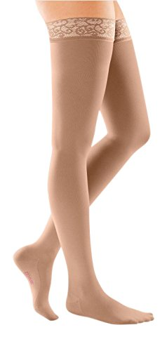 mediven Comfort, 20-30 mmHg, Thigh High Compression Stockings w/Lace Top-Band, Closed Toe (Color: Natural, Tamaño: III)