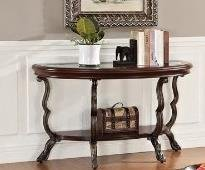 Bavol cherry finish wood rounded front shaped sofa table with glass insert and lower shelf