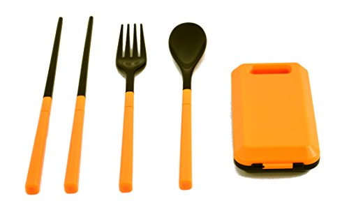 LSW Travel Compact Utensil Set with Fork, Spoon, Chopsticks, and Carrying Case (Orange)
