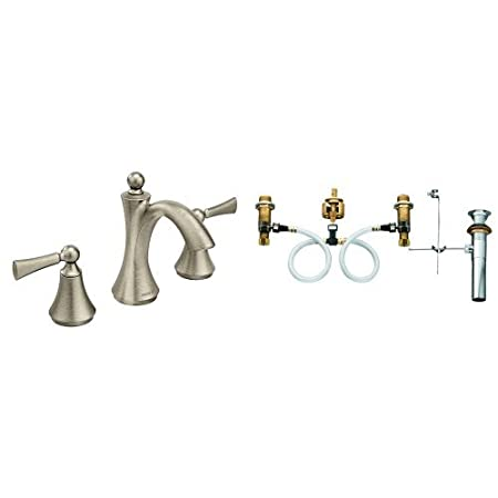 Moen T4520BN-9000 Wynford Polished Two-Handle High Arc Bathroom Faucet with Valve, Brushed Nickel