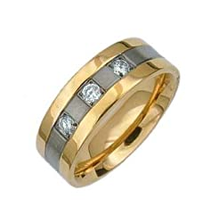 Titanium Gold Band Ring with Cubic Zirconia - Size: 8-12