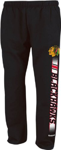 Chicago Blackhawks Mens Black Left Flank Sweatpants by Reebok (X-Large) at Amazon.com