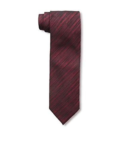 Rossovivo Men's Dotted Stripe Tie, Dark Red