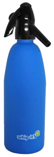 Whip-It 1-Liter Soda Siphon, Rubber Coated, Blue