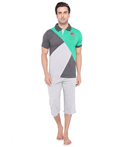 Mens-Green-color-Polo-Top-Capri-Set-by-Valentine