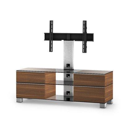 Sonorous MD 8240-C-INX-WNT Fernseher-Möbel mit Klarglas (Aluminium Inox, Korpus Holzdekor) walnuß