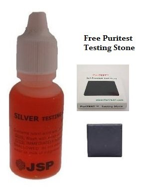 JSP Premium Silver Jewelry Testing Solution Test Purity 1/2oz Bottle + .999 Fine Silver Bullion Bar Christmas Hannukah Xmas Present Black Friday Cyber Monday Gift