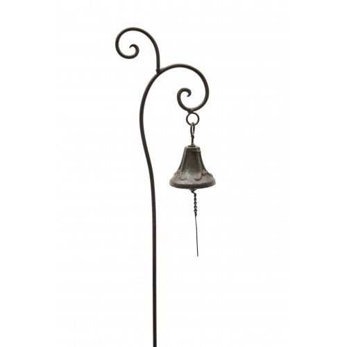 Bell Cast Iron Garden Stake with Rustic Finish, 40-inch, Outdoor