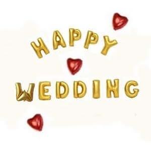 HAPPY WEDDING! アルファベット & ハート アルミ バルーン 3個 セット 二次会 結婚式 (ストロー付)