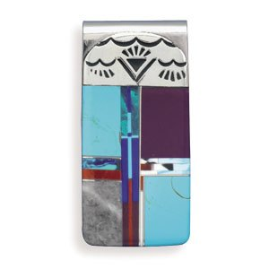 316L Stainless steel money clip with multicolor inlay simulated stones.