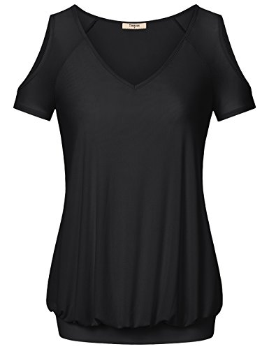 Tunics for Women,Timeson Womens Batwing Sleeve Stretchy A-line Party Shirt Tunic Medium Black